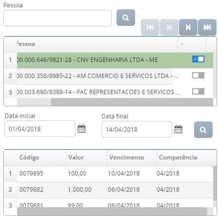 Você pode controlar o nome das empresas e as datas de títulos a receber ou a pagar