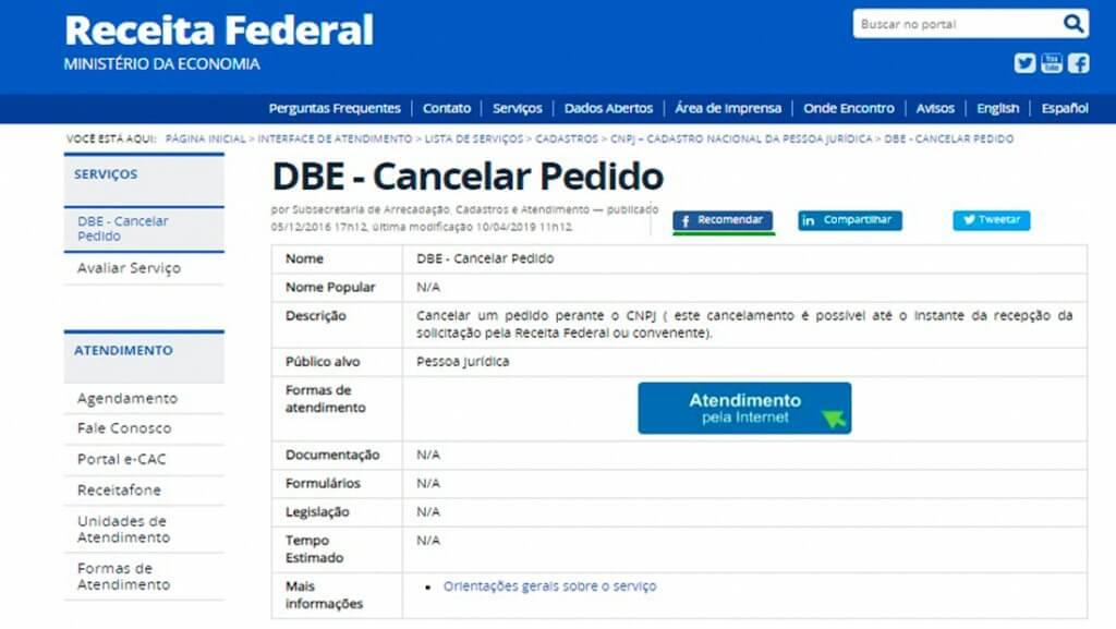 No site da Receita Federal você pode fazer o cancelamento do DBE