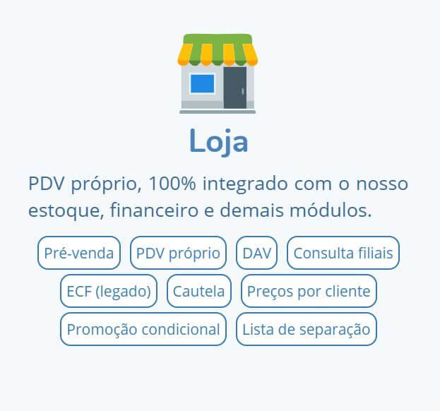 Funcionalidades presentes no módulo Loja no ERP online FoxManager